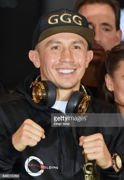 WBC WBA and IBF middleweight champion Gennady Golovkin arrives at MGM Grand Hotel Casino on September 12 2017 in Las Vegas Nevada Golovkin will...