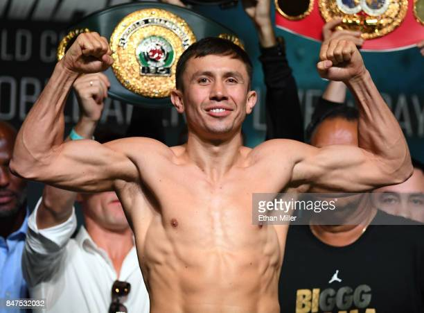 WBC WBA and IBF middleweight champion Gennady Golovkin poses on the scale during his official weighin at MGM Grand Garden Arena on September 15 2017...