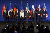 P51 and Iran representative pose prior to the announcement of an agreement on Iran nuclear talks on April 2 2015 at the The Swiss Federal Institutes...