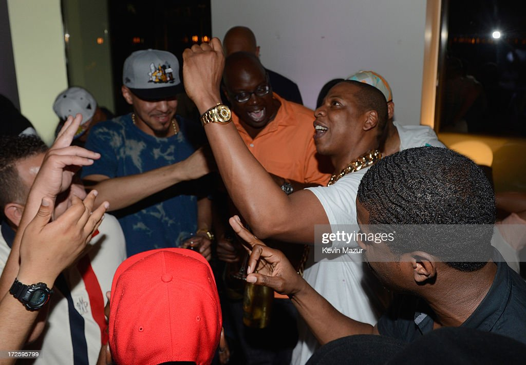 JAY Z and J. Cole (L) attend JAY Z and Samsung Mobile's celebration of the Magna Carta Holy Grail album, available now through a customized app in Google Play and Samsung Apps exclusively for Samsung Galaxy S 4, Galaxy S III and Note II users on July 3, 2013 in Brooklyn City.