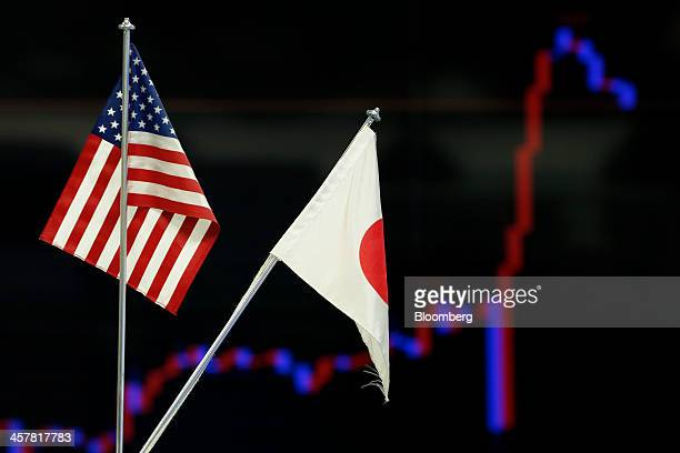 US and Japanese national flags sit on display in front of a monitor displaying a graph of the movement of the yen against the US dollar at a foreign...