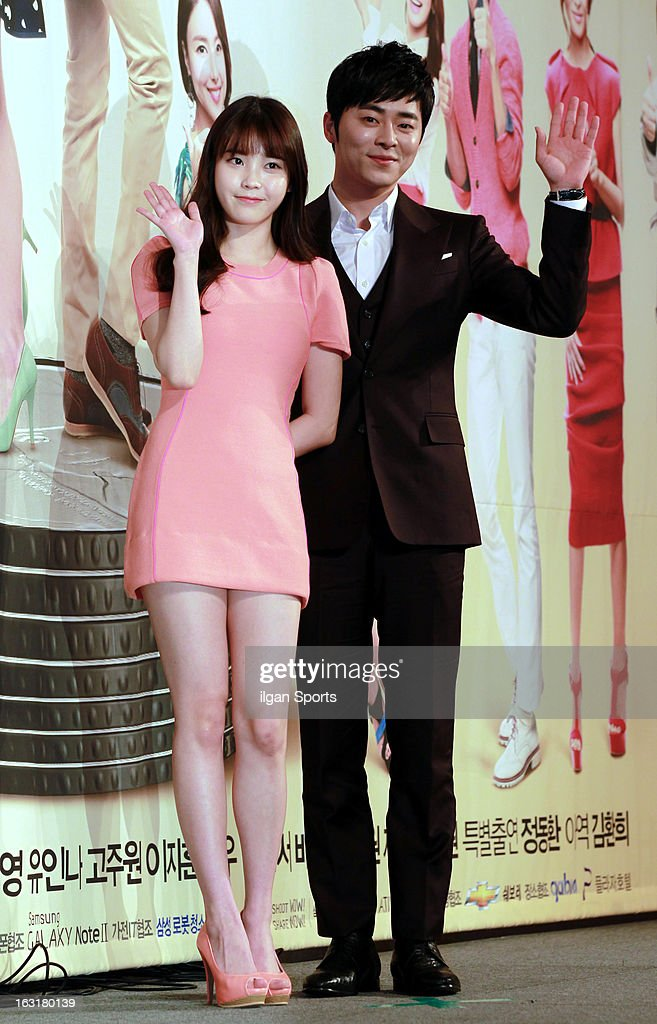 IU and Jo Jeong-Seok attend the KBS 2TV 'You're The Best Lee Soon-Shin' Press Conference at Seoul Plaza on March 4, 2013 in Seoul, South Korea.