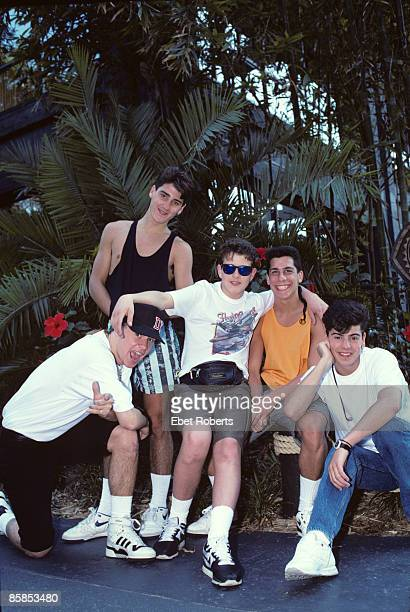 Photo of NEW KIDS ON THE BLOCK and Jonathan KNIGHT and Donnie WAHLBERG and Jordan KNIGHT and Joey McINTYRE and Danny WOOD Posed group portrait LR...