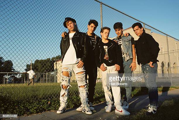 Photo of NEW KIDS ON THE BLOCK and Jordan KNIGHT and Joey McINTYRE and Danny WOOD and Donnie WAHLBERG and Jonathan KNIGHT Posed group portrait LR...