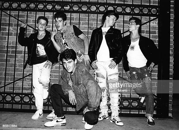 Photo of NEW KIDS ON THE BLOCK and Jordan KNIGHT and Joey McINTYRE and Jonathan KNIGHT and Donnie WAHLBERG and Danny WOOD Posed group portrait LR...
