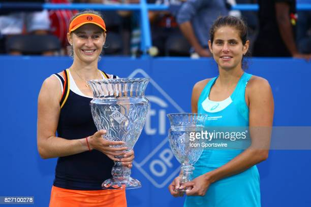 and JULIA GOERGES during women's finals match of the 2017 Citi Open on August 6 2017 at Rock Creek Park Tennis Center in Washington DC