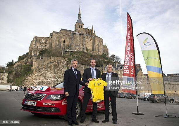 and Laurent Beauvais BasseNormandie's regional president Christian Prudhomme Tour de France race director JeanFrancois Le Grand Manche's regional...