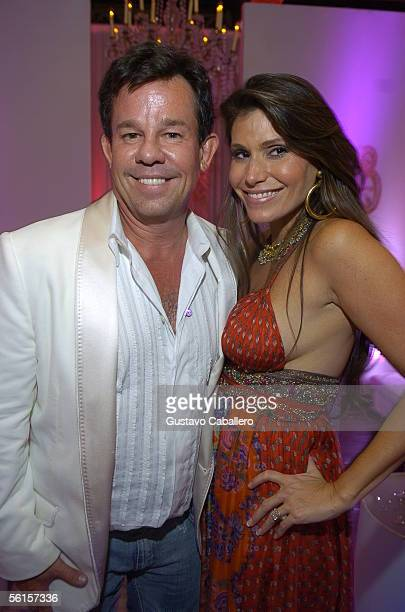 R and Loren Ridinger pose at the Forge at Amber Ridinger's Bat Mitzvah where Ashanti and Jarule performed on November 12 2005 in Miami Beach Florida