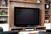 A large flat screen TV in shelving unit in lounge