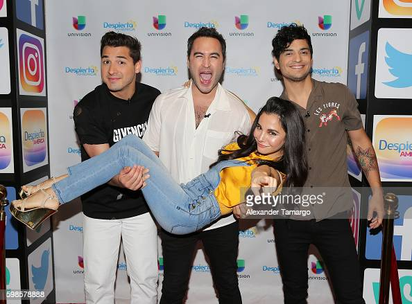 REIK and Martha Higareda are seen on the set of 'Despierta America' to promote the film 'No Manches Frida' at Univision Studios on September 1 2016...