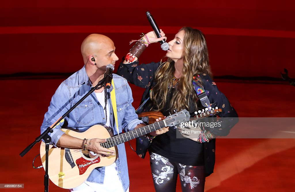 SIE7E and Mirella Cesa perform during the Latin GRAMMY Acoustic Sessions Miami with Diego Torres at New World Center on November 3, 2015 in Miami Beach, Florida.