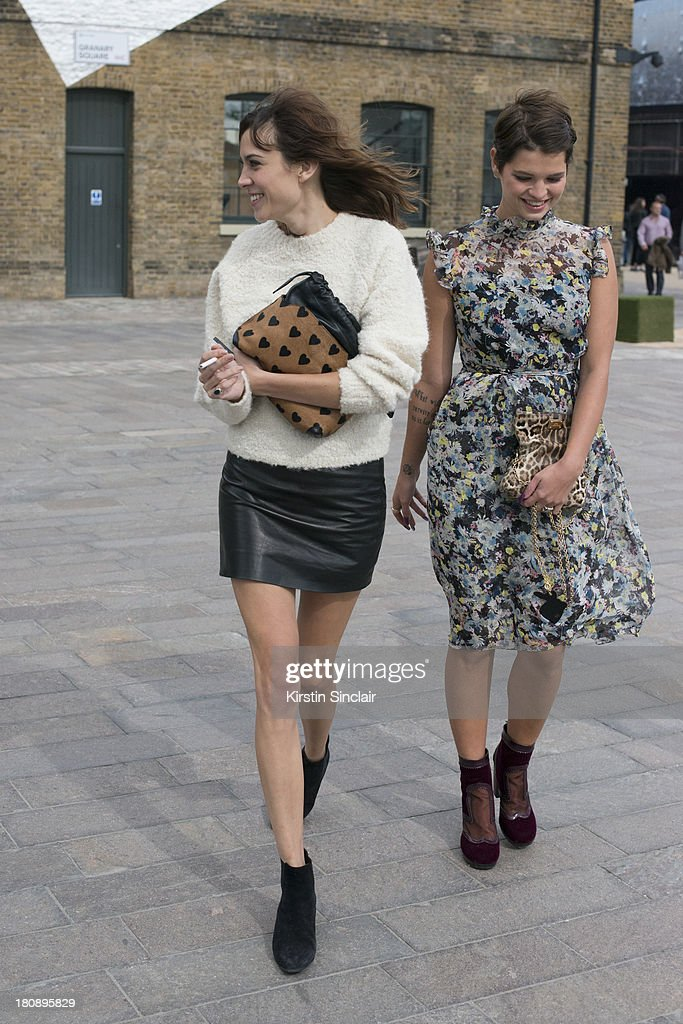 DJ and model Alexa Chung and Model Pixie Geldof on day 4 of London Fashion Week Spring/Summer 2013, at Somerset House on September 16, 2013 in London, England.