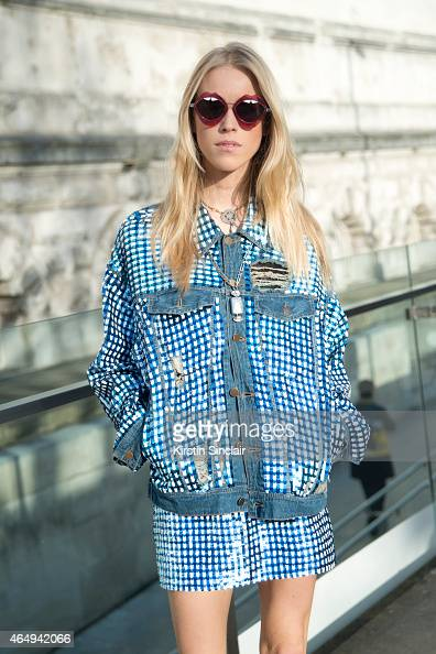 DJ and model Mary Charteris wears an Ashish jacket and skirt and Henry Holland sunglasses on February 24 2015 in London England
