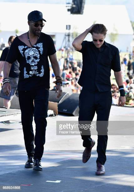 and musician Paul Banks of Banks Steelz perform on the Outdoor Stage during day 2 of the Coachella Valley Music And Arts Festival at the Empire Polo...