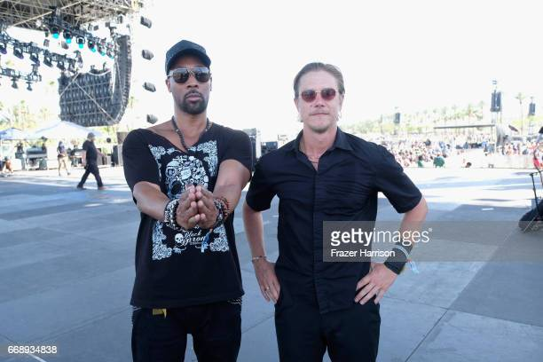 and musician Paul Banks of Banks Steelz pose backstage at the Outdoor Stage during day 2 of the Coachella Valley Music And Arts Festival at the...