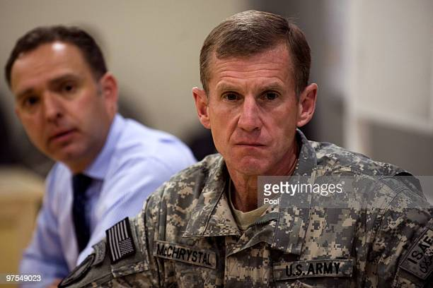 US and NATO forces in Afghanistan Commander Gen Stanley McChrystal and NATO Ambassador Mark Sedwill give a press briefing March 8 2010 in Kabul...