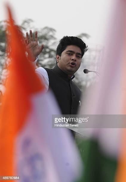 MP and nephew of party Supremo Mamata Banerjee Abhishek Banerjee during a TMC Yuva rally at Shahid Minar Maidan on December 1 2014 in Kolkata India A...