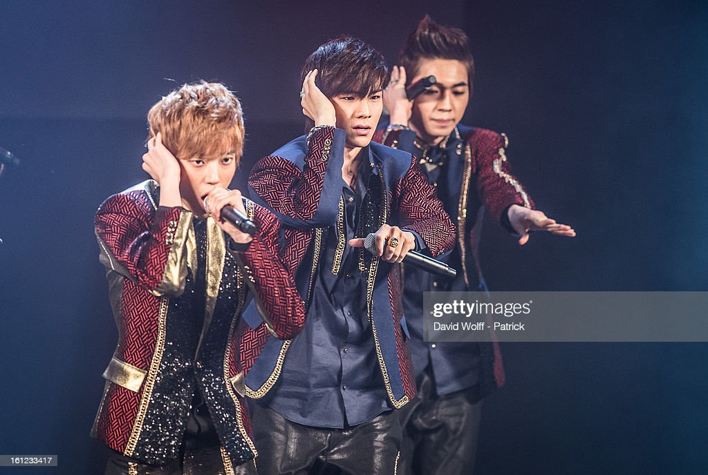 CAP and Niel from Teen Pop perform at Le Trianon on February 9, 2013 in Paris, France.