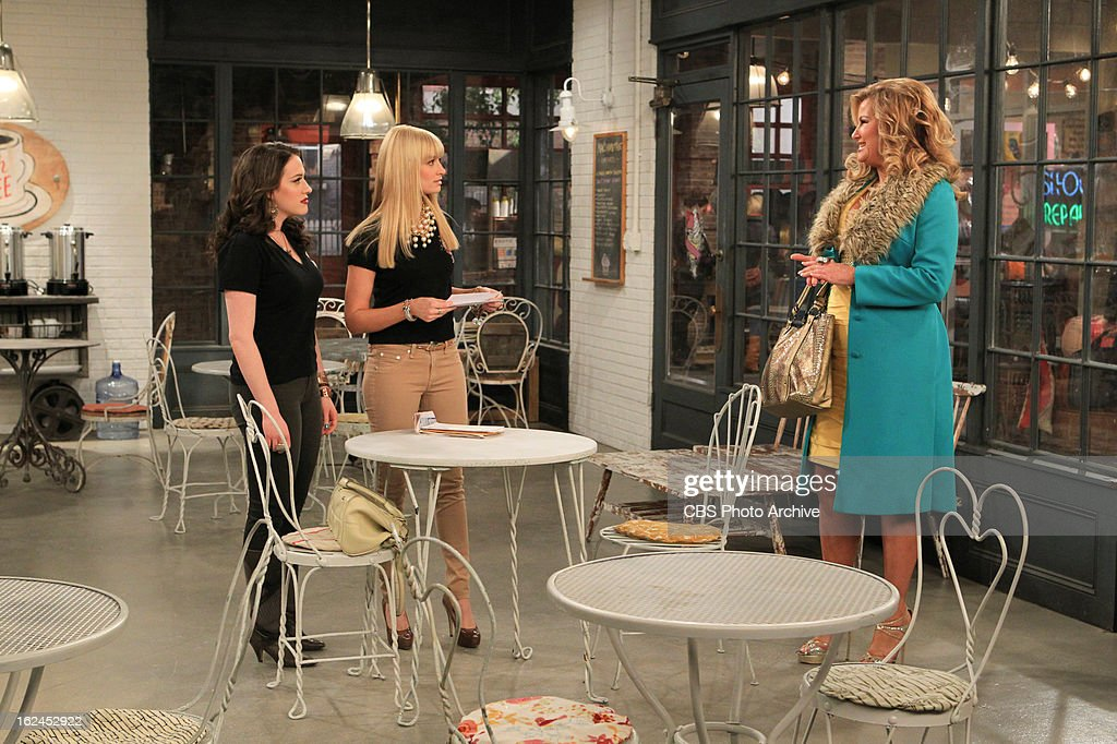 'And Not-So-Sweet Charity' -- Max and Caroline approach Caroline's rich but callous Aunt Charity for money to save their flailing cupcake shop, on 2 BROKE GIRLS, Monday, Feb. 25 (9:00-9:30 PM, ET/PT) on the CBS Television Network. Max Black (Kat Dennings), left, Caroline Channing (Beth Behrs) and Sophie (Jennifer Coolidge), shown.