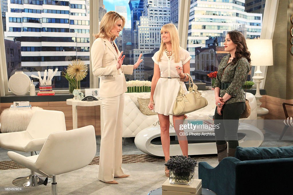 'And Not-So-Sweet Charity' -- Max and Caroline approach Caroline's rich but callous Aunt Charity for money to save their flailing cupcake shop, on 2 BROKE GIRLS, Monday, Feb. 25 (9:00-9:30 PM, ET/PT) on the CBS Television Network. Charity (Missi Pyle), left, Caroline Channing (Beth Behrs) and Max Black (Kat Dennings), shown.