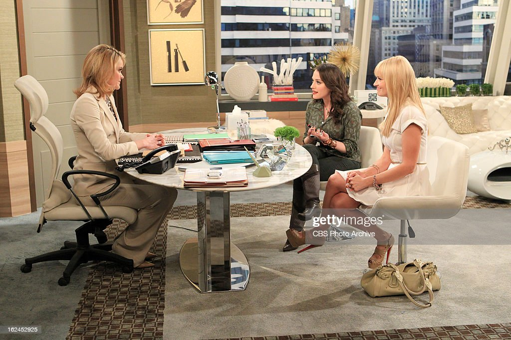 'And Not-So-Sweet Charity' -- Max and Caroline approach Caroline's rich but callous Aunt Charity for money to save their flailing cupcake shop, on 2 BROKE GIRLS, Monday, Feb. 25 (9:00-9:30 PM, ET/PT) on the CBS Television Network. Charity (Missi Pyle), left, Max Black (Kat Dennings) and Caroline Channing (Beth Behrs), shown.