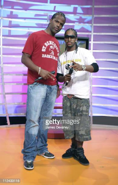 '106 and Park' host AJ and Omarion during Jermaine Dupri Visits BET's '106 Park' July 18 2005 at BET's '106 Park' Studios in New York City New York...