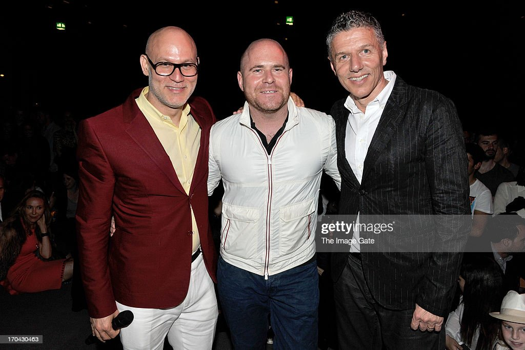 CEO and President of Dacra and Art Basel Miami Producer Craig Robins, Art Basel Director Marc Spiegler and guest attend Kanye West's listening session of its unreleased new album Yeezus during at Design Miami/ Basel on June 12, 2013 in Basel, Switzerland.