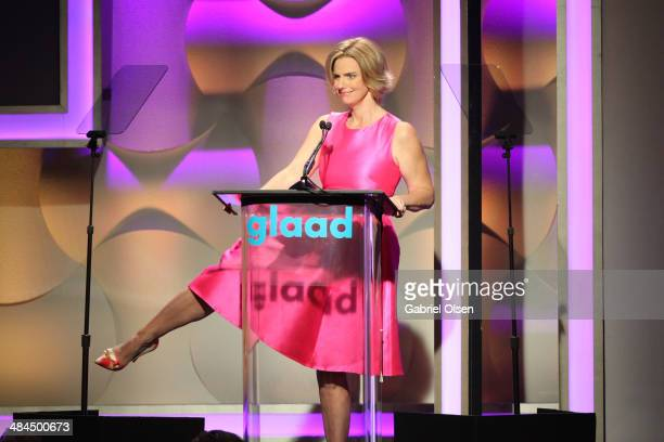 CEO and president Sarah Kate Ellis onstage during the 25th Annual GLAAD Media Awards at The Beverly Hilton Hotel on April 12 2014 in Beverly Hills...