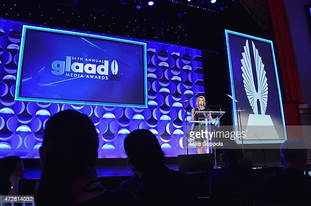 CEO and president Sarah Kate Ellis speaks on stage at the 26th Annual GLAAD Media Awards In New York on May 9 2015 in New York City