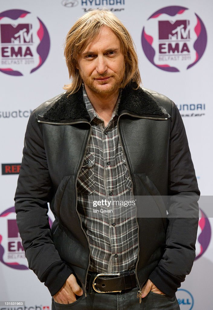 DJ and Producer <a gi-track='captionPersonalityLinkClicked' href=/galleries/search?phrase=David+Guetta&family=editorial&specificpeople=2825542 ng-click='$event.stopPropagation()'>David Guetta</a> attends a MTV Europe Music Awards 2011 press conference at Odyssey Arena on November 5, 2011 in Belfast, Northern Ireland.
