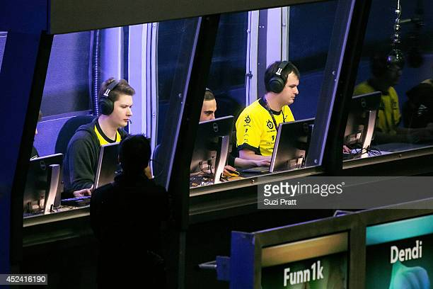 XBOCT and Puppey of Natus Vincere compete at The International DOTA 2 Championships at Key Arena on July 19 2014 in Seattle Washington
