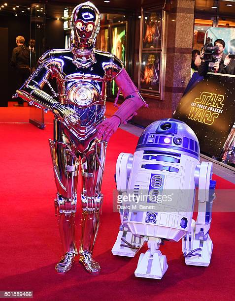 and R2D2 attend the European Premiere of 'Star Wars The Force Awakens' in Leicester Square on December 16 2015 in London England