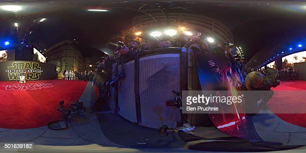 C3PO and R2D2 characters from 'Star Wars' attend the European Premiere of 'Star Wars The Force Awakens' at Leicester Square on December 16 2015 in...