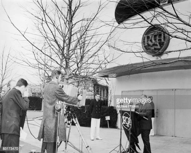 TV and radio executive David Sarnoff Chairman of the Board at RCA dedicates the RCA Building at the New York World's Fair April 1939