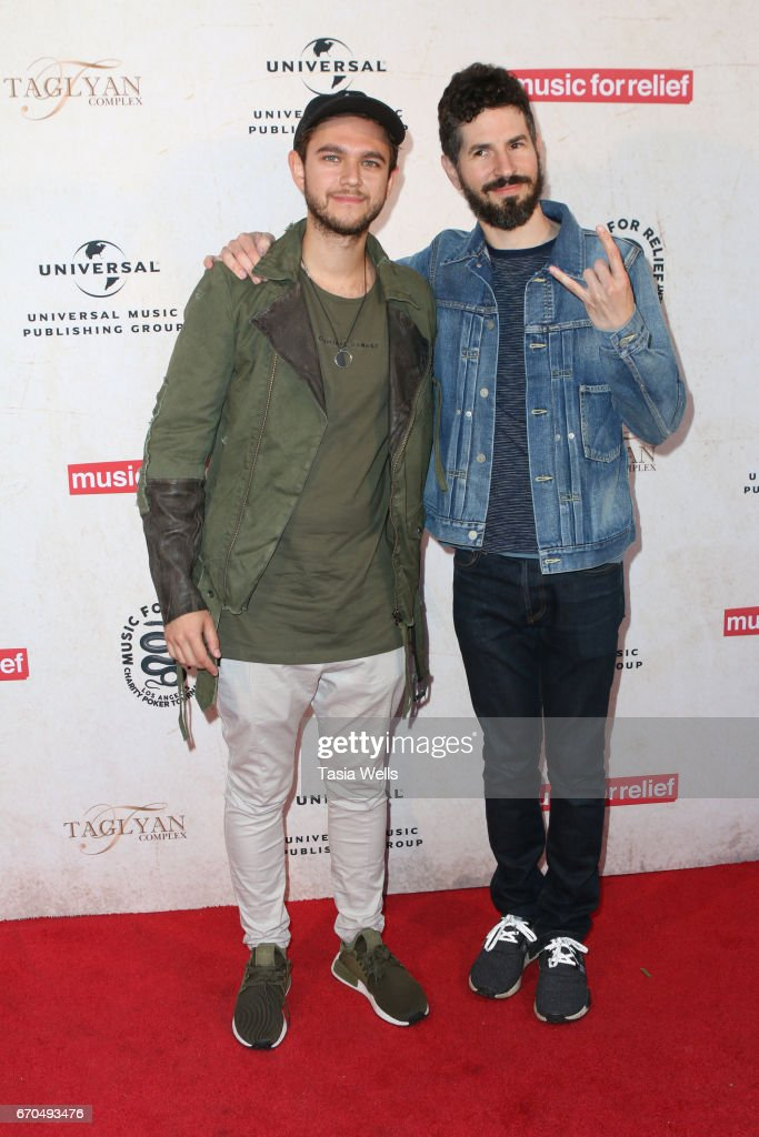 DJ and record producer Zedd (L) and Linkin Park guitarist Brad Delson attend Linkin Park's Music for Relief - Charity Poker Tournament at Taglyan Cultural Complex on April 19, 2017 in Hollywood, California.