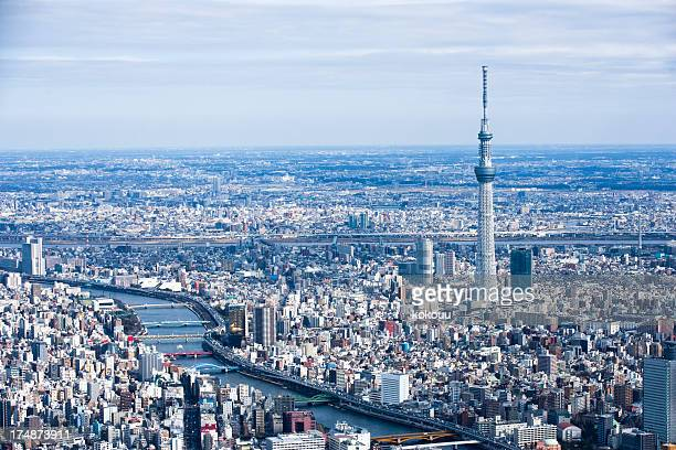 TOKYO SKYTREE and river scenery.