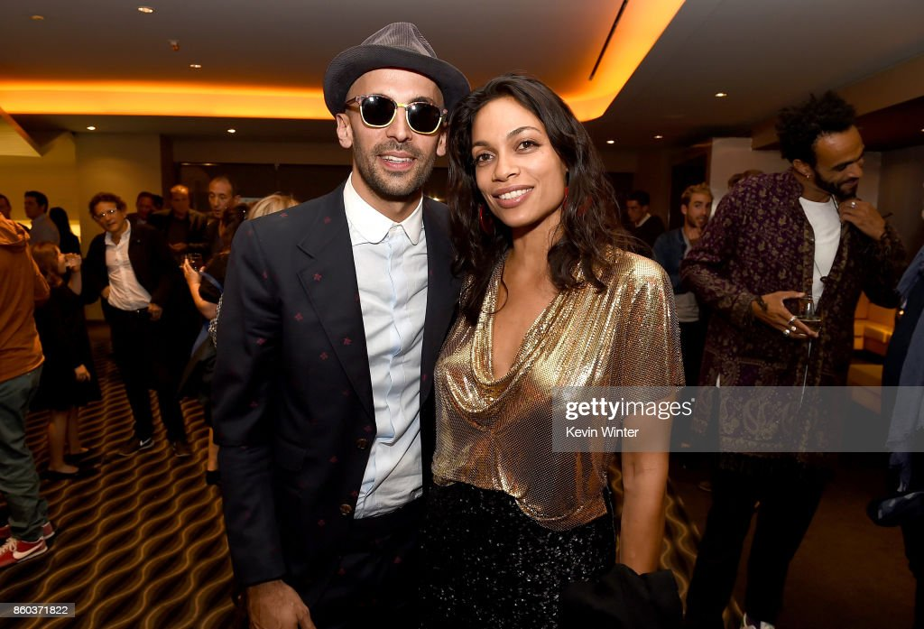 JR and Rosario Dawson attend the after party for the premiere of Cohen Media Group's 'Faces Places' at Pacific Design Center on October 11, 2017 in West Hollywood, California.