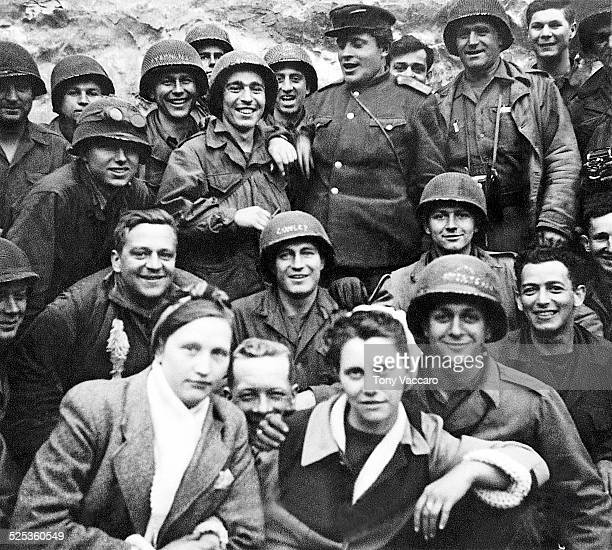 US and Russian soldiers socialise in Rosslau Germany east of the Elbe World War II May 1945