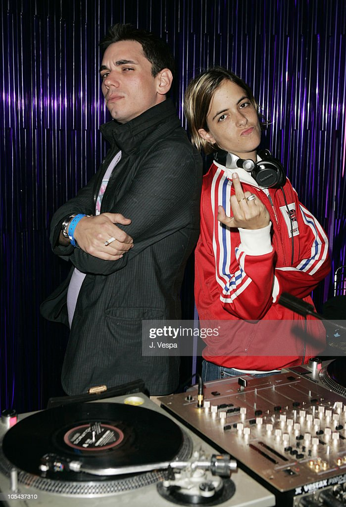 DJ AM and Samantha Ronson during Lindsay Lohan's 2005 MTV Movie Award After Party at The Standard Hotel in Los Angeles, California, United States.