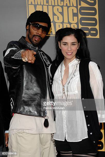 RZA and Sarah Silverman attend 2008 American Music Awards at Nokia Theatre on November 23 2008 in Los Angeles CA