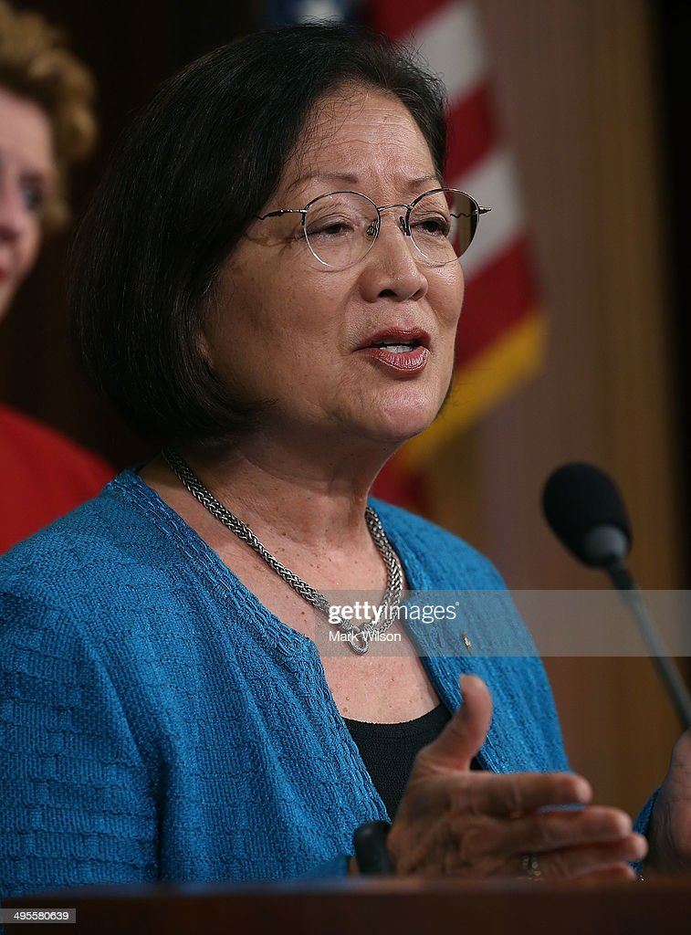 and Sen. <a gi-track='captionPersonalityLinkClicked' href=/galleries/search?phrase=Mazie+Hirono&family=editorial&specificpeople=3461717 ng-click='$event.stopPropagation()'>Mazie Hirono</a> (D_HI) speaks student loans for women during a news conference, on Capitol Hill June 4, 2014 in Washington, DC. Democratic women Senators held the news conference to highlight how the student loan debt for women disproportionately weighs them down and prevents them from having a fair shot.