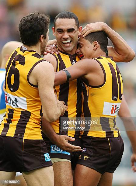 and Shaun Burgoyne of the Hawks celebrates a goal with Isacc Smith and Bradley Hill during the round nine AFL match between the Hawthorn Hawks and...