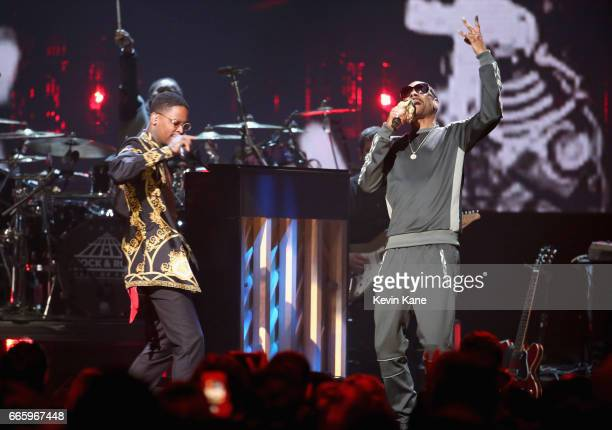 YG and Snoop Dogg perform 2017 Inductee Tupac Shakur onstage at the 32nd Annual Rock Roll Hall Of Fame Induction Ceremony at Barclays Center on April...