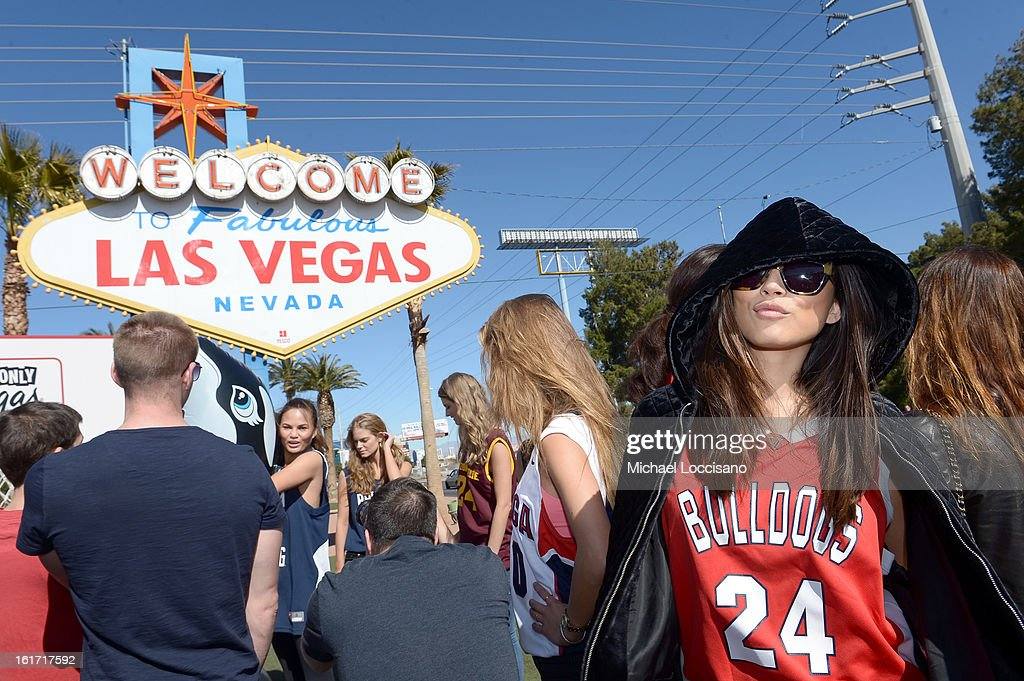 LVCVA and Sports Illustrated Model Jessica Gomes support the NCAA Basketball Conference Championship at the historic Las Vegas sign on February 14, 2013 in Las Vegas, Nevada.