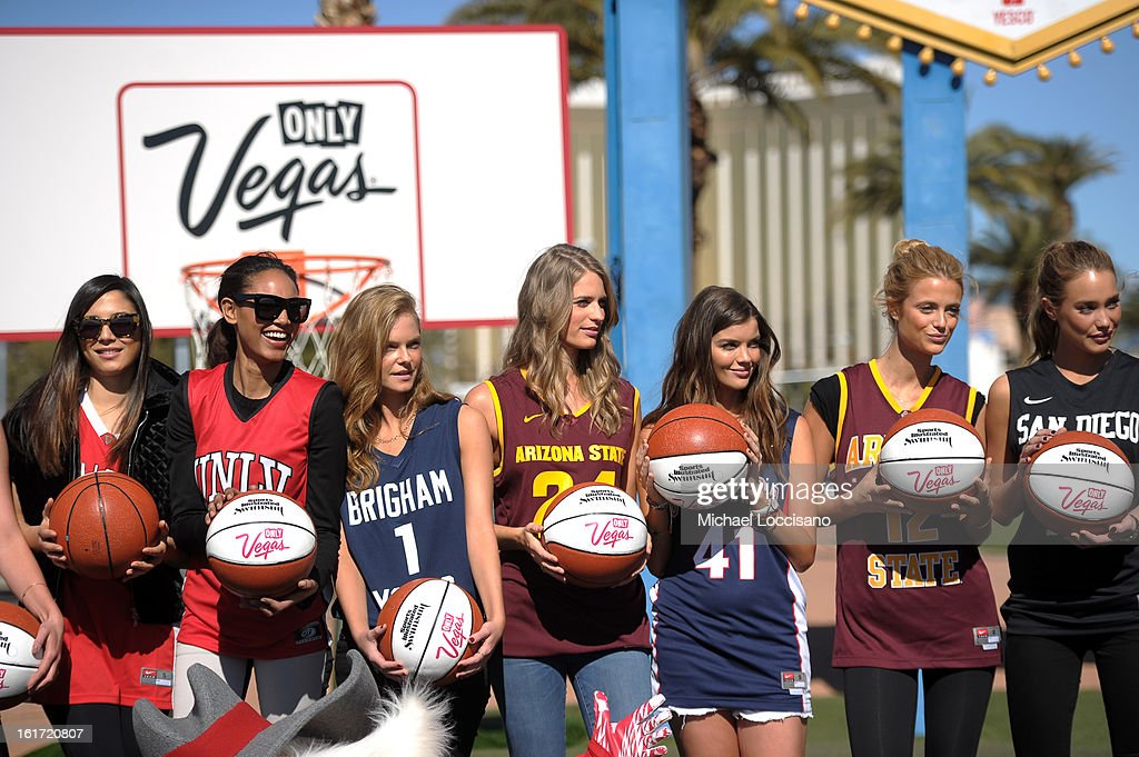 LVCVA and Sports Illustrated Models (L-R) <a gi-track='captionPersonalityLinkClicked' href=/galleries/search?phrase=Jessica+Gomes&family=editorial&specificpeople=4319063 ng-click='$event.stopPropagation()'>Jessica Gomes</a>, Ariel Meredith, Jessica Perez, <a gi-track='captionPersonalityLinkClicked' href=/galleries/search?phrase=Julie+Henderson&family=editorial&specificpeople=4154524 ng-click='$event.stopPropagation()'>Julie Henderson</a>, Natasha Barnard, Kate Bock and Hannah Davis support the NCAA Basketball Conference Championship at the historic Las Vegas sign on February 14, 2013 in Las Vegas, Nevada.