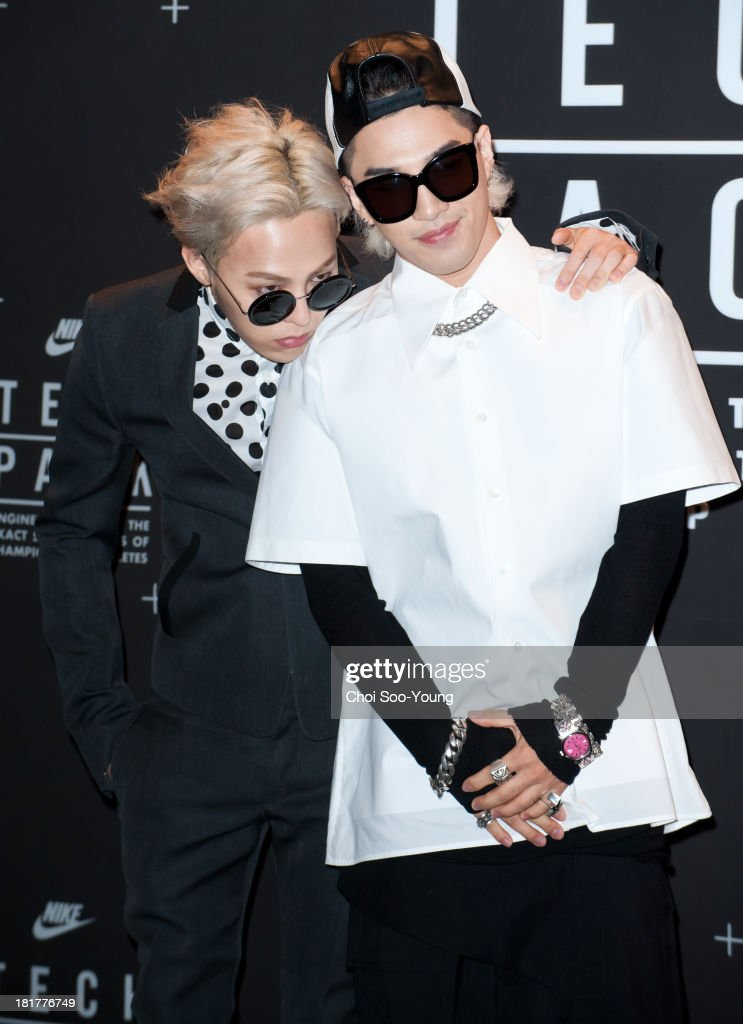G.DRAGON and Tae-Yang of Bigbang attend the 'NIKE Tech Pack' showcase at the Shilla hotel on September 24, 2013 in Seoul, South Korea.