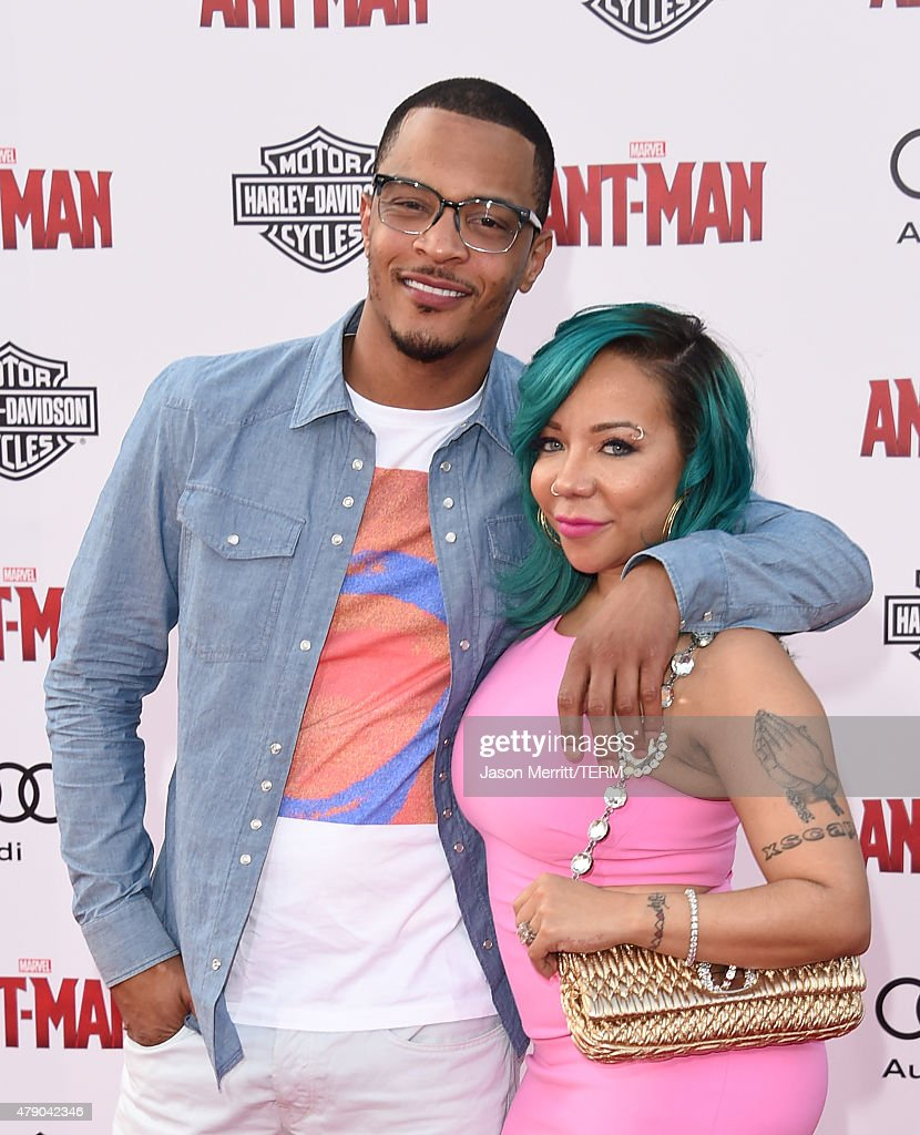 I and Tameka 'Tiny' CottleHarris arrive at the Los Angeles Premiere of Marvel Studios 'AntMan' at Dolby Theatre on June 29 2015 in Hollywood...