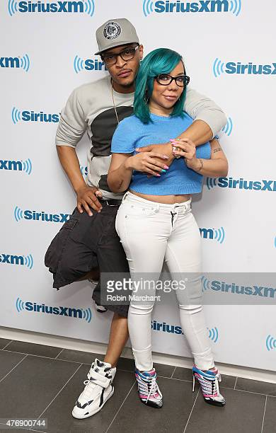 TI and Tameka 'Tiny' CottleHarris visit at SiriusXM Studios on June 12 2015 in New York City