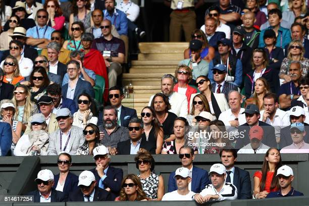 FEDERER and team box during the men's semifinals match of the 2017 Wimbledon on July 14 at All England Lawn Tennis and Croquet Club in LondonEngland