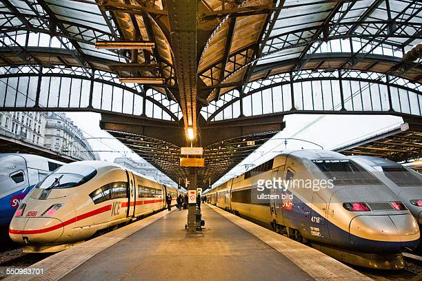 ICE and TGV high speed trains at the station Paris Gare de l Est